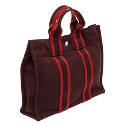 Hermes Burgundy Canvas Sac Fourre PM Tote Bag