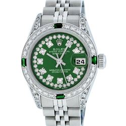Rolex Ladies Stainless Steel 26MM Green Diamond Lugs Datejust Wristwatch