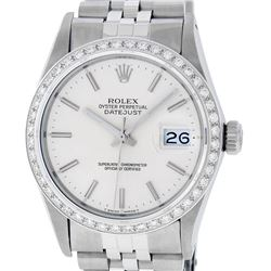 Rolex Mens Stainless Steel Silver Index 36MM Diamond Datejust Wristwatch