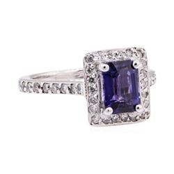 2.21 ctw Blue Sapphire And Diamond Ring - 14KT White Gold