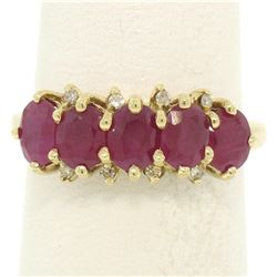 10k Yellow Gold 1.79 ctw Shared Prong Set Oval Ruby Band Ring w/ Diamond Accents