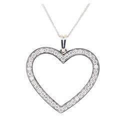 1.00 ctw Diamond Heart Shaped Pendant with Chain - 14KT White Gold