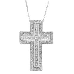 14k Gold 1CTW Diamond Cross, (I1-I2/SI2-SI3/G-H/H-I)