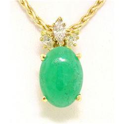 18k Yellow Gold Oval Green Jade & Marquise Diamond Pendant w/ 14k Wheat Chain