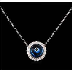 0.37 ctw Diamond Evil Eye Pendant With Chain - 14KT White Gold