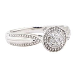0.10 ctw Diamond and Ruby Ring - 10KT White Gold