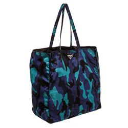 Prada Blue Multicolor Nylon Canvas Camo Print Tote Handbag