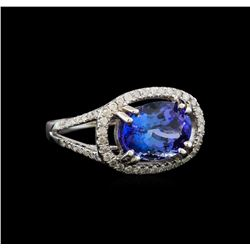 14KT White Gold 4.14 ctw Tanzanite and Diamond Ring