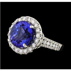 GIA Cert 8.56 ctw Tanzanite and Diamond Ring - 14KT White Gold