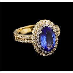 2.48 ctw Tanzanite and Diamond Ring - 14KT Yellow Gold