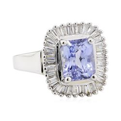 3.03 ctw Sapphire and Diamond Ring - 14KT White Gold