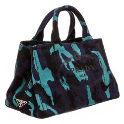Prada Blue Purple Camo Canvas Medium Canapa Shopping Tote Bag