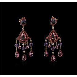 Ralph Lauren 54.06 ctw Multi Gemstone and Diamond Earrings - 18KT Rose Gold