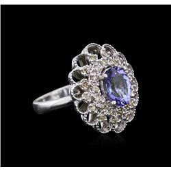 14KT White Gold 2.12 ctw Tanzanite and Diamond Ring