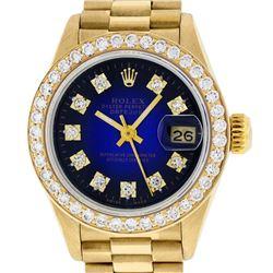 Rolex Ladies 18K Yellow Blue Vignette 1 ctw Diamond President Wristwatch With Ro