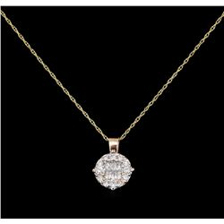 0.40 ctw Diamond Pendant With Chain - 14KT Rose Gold
