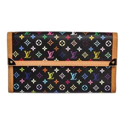 Louis Vuitton Black Multicolor Monogram Canvas Leather Porte Tresor Wallet