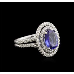 2.22 ctw Tanzanite and Diamond Ring - 14KT White Gold
