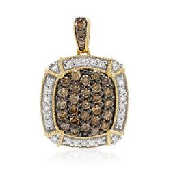 14k Yellow Gold 0.94CTW Diamond and Brown Diamonds Pendant, (SI/H-I)