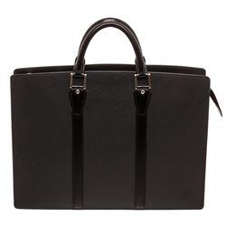 Louis Vuitton Black Taiga Leather Lozan Briefcase Bag