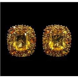 24.64 ctw Citrine Earrings - 18KT Yellow Gold