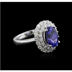 14KT White Gold 2.71 ctw Tanzanite and Diamond Ring