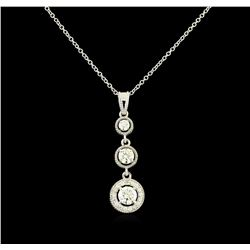 1.06 ctw Diamond Pendant With Chain - 14KT White Gold