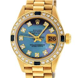 Rolex Ladies 18K Yellow Gold Sapphire And Tahitian MOP Diamond President Wristwa