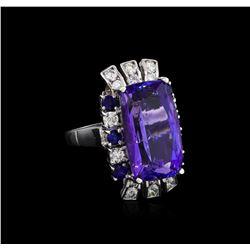 16.83 ctw Tanzanite, Sapphire and Diamond Ring - 14KT White Gold