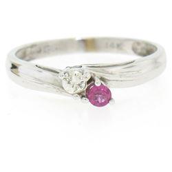 14k White Gold 0.17 ctw Ruby & Diamond Petite Bypass Promise Birthstone Ring