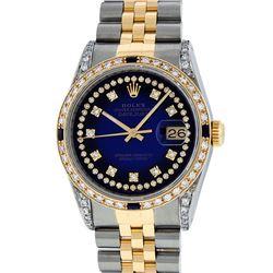 Rolex Mens 2 Tone 14K Lugs Blue Vignette Diamond String & Sapphire Datejust Wris