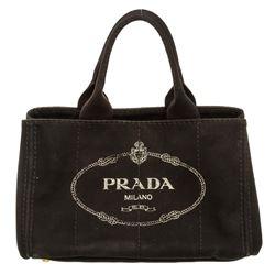 Prada Black Canvas Medium Canapa Tote Bag