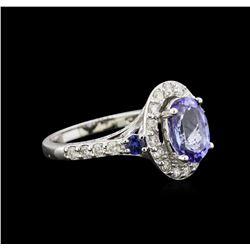 2.31 ctw Tanzanite, Sapphire and Diamond Ring - 14KT White Gold