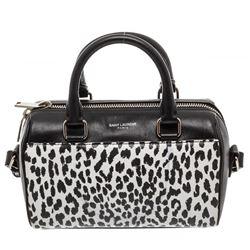 Saint Laurent YSL Leather Black White Babycat Toy Duffle Crossbody Bag