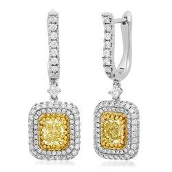 18k Two Tone Gold 3.00CTW Diamond Earrings, (VS1/G/Fancy Yellow)