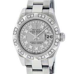 Rolex Ladies Stainless Steel Quickset Slate Grey String Diamond Datejust Wristwa