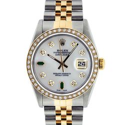 Rolex Mens 2 Tone 14K Mother Of Pearl Diamond 36MM Datejust Wristwatch