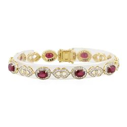 9.32 ctw Ruby and Diamond Bracelet - 14KT Yellow Gold