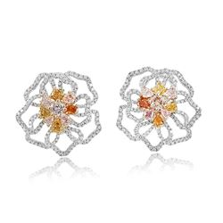 18k Three Tone Gold 4.17CTW Multicolor Dia, Pink Diamond and Diamond Earrings, (