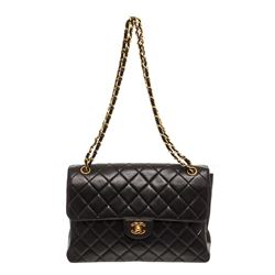 Chanel Black Lambskin Leather Vintage Double Reverse Flap Bag