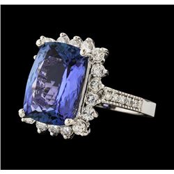 7.75 ctw Tanzanite and Diamond Ring - 14KT White Gold