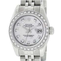 Rolex Ladies Stainless Steel Quickset Mother Of Pearl Diamond Datejust Wristwatc