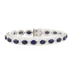 18.28 ctw Sapphire and Diamond Bracelet - 14KT White Gold