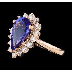 3.82 ctw Tanzanite and Diamond Ring - 14KT Rose Gold