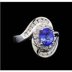 14KT White Gold 1.91 ctw Tanzanite and Diamond Ring