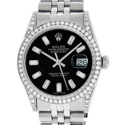 Rolex Mens Stainless Black Baguette Diamond Lugs Datejust Wristwatch