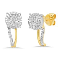14k Gold 0.18CTW Diamond Earrings, (I1-I2/G-H)