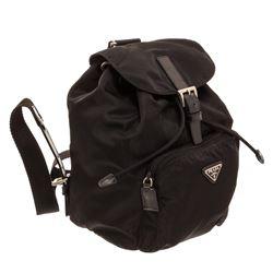 Prada Black Nylon Leather Trim Drawstring Mini Backpack