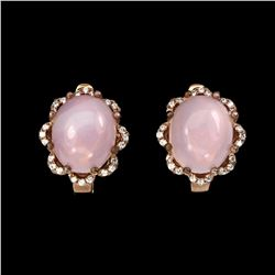 Natural Pink Opal 12x10mm Earrings