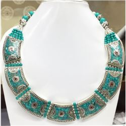 Tibet Hand Made Natural Turquoise Royal Necklace